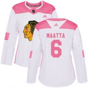 Wholesale Cheap Adidas Blackhawks #6 Olli Maatta White/Pink Authentic Fashion Women's Stitched NHL Jersey