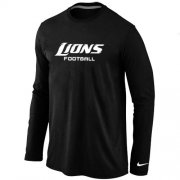 Wholesale Cheap Nike Detroit Lions Authentic Font Long Sleeve T-Shirt Black