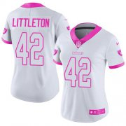 Wholesale Cheap Nike Raiders #42 Cory Littleton White/Pink Women's Stitched NFL Limited Rush Fashion Jersey
