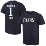 Wholesale Cheap Men's Tennessee Titans Pro Line College Number 1 Dad T-Shirt Navy