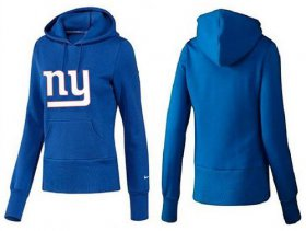 Wholesale Cheap Women\'s New York Giants Logo Pullover Hoodie Blue