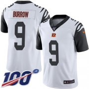 Wholesale Cheap Nike Bengals #9 Joe Burrow White Men's Stitched NFL Limited Rush 100th Season Jersey