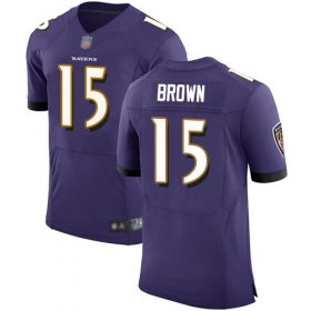 Wholesale Cheap Nike Ravens #15 Marquise Brown Purple Team Color Men\'s Stitched NFL Vapor Untouchable Elite Jersey
