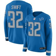 Wholesale Cheap Nike Lions #32 D'Andre Swift Blue Team Color Women's Stitched NFL Limited Therma Long Sleeve Jersey