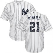 Wholesale Cheap Yankees #21 Paul O'Neill White Strip Team Logo Fashion Stitched MLB Jersey
