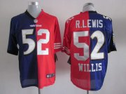 Wholesale Cheap Nike Ravens & 49ers #52 Ray Lewis & Patrick Willis Purple/Red Men's Stitched NFL Mixture Elite Jersey