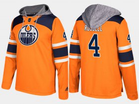 Wholesale Cheap Oilers #4 Kris Russell Orange Name And Number Hoodie