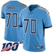 Wholesale Cheap Nike Titans #70 Ty Sambrailo Light Blue Alternate Youth Stitched NFL 100th Season Vapor Untouchable Limited Jersey