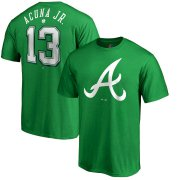 Wholesale Cheap Atlanta Braves #13 Ronald Acuna Jr. Majestic St. Patrick's Day Stack Player Name & Number T-Shirt Kelly Green