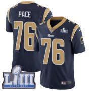 Wholesale Cheap Nike Rams #76 Orlando Pace Navy Blue Team Color Super Bowl LIII Bound Men's Stitched NFL Vapor Untouchable Limited Jersey