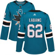 Wholesale Cheap Adidas Sharks #62 Kevin Labanc Teal Home Authentic Women's Stitched NHL Jersey