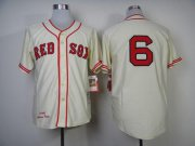 Wholesale Cheap Mitchell And Ness 1946 Red Sox #6 Johnny Pesky Cream Throwback Stitched MLB Jersey