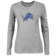 Wholesale Cheap Women's Nike Detroit Lions Of The City Long Sleeve Tri-Blend NFL T-Shirt Light Grey