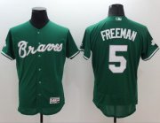Wholesale Cheap Braves #5 Freddie Freeman Green Celtic Flexbase Authentic Collection Stitched MLB Jersey