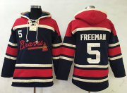 Wholesale Cheap Braves #5 Freddie Freeman Navy Blue Sawyer Hooded Sweatshirt MLB Hoodie