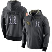 Wholesale Cheap NFL Men's Nike Arizona Cardinals #11 Larry Fitzgerald Stitched Black Anthracite Salute to Service Player Performance Hoodie