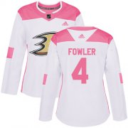 Wholesale Cheap Adidas Ducks #4 Cam Fowler White/Pink Authentic Fashion Women's Stitched NHL Jersey