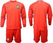 Wholesale Cheap Brazil Blank Red Goalkeeper Long Sleeves Soccer Country Jersey