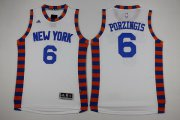 Wholesale Cheap Men's New York Knicks #6 Kristaps Porzingis Revolution 30 Swingman 2015-16 White Jersey