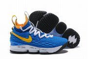Wholesale Cheap Nike Lebron James 15 Air Cushion Shoes Blue Yellow
