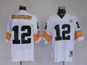 Wholesale Cheap Mitchell & Ness Steelers #12 Terry Bradshaw White Stitched Throwback NFL Jersey