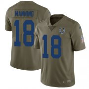 Wholesale Cheap Nike Colts #18 Peyton Manning Olive Youth Stitched NFL Limited 2017 Salute to Service Jersey