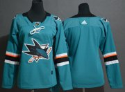 Wholesale Cheap Adidas Sharks Blank Teal Home Authentic Stitched Youth NHL Jersey