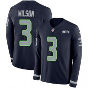 Wholesale Cheap Nike Seahawks #3 Russell Wilson Steel Blue Team Color Men's Stitched NFL Limited Therma Long Sleeve Jersey