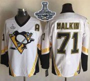 Wholesale Cheap Penguins #71 Evgeni Malkin White CCM Throwback 2017 Stanley Cup Finals Champions Stitched NHL Jersey
