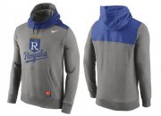 Wholesale Cheap Men's Kansas City Royals Nike Gray Cooperstown Collection Hybrid Pullover Hoodie