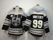 Wholesale Cheap Kings #99 Wayne Gretzky Black Sawyer Hooded Sweatshirt Stitched Youth NHL Jersey