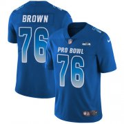 Wholesale Cheap Nike Seahawks #76 Duane Brown Royal Youth Stitched NFL Limited NFC 2018 Pro Bowl Jersey