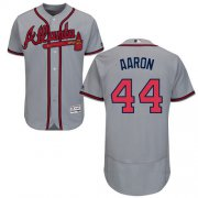 Wholesale Cheap Braves #44 Hank Aaron Grey Flexbase Authentic Collection Stitched MLB Jersey