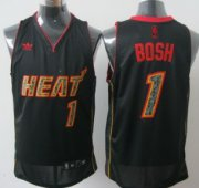 Wholesale Cheap Miami Heats #1 Chris Bosh All Black With Orange Fashion Jersey