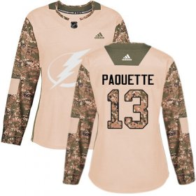 Cheap Adidas Lightning #13 Cedric Paquette Camo Authentic 2017 Veterans Day Women\'s Stitched NHL Jersey