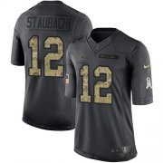 Wholesale Cheap Nike Cowboys #12 Roger Staubach Black Youth Stitched NFL Limited 2016 Salute to Service Jersey