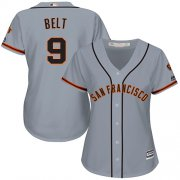 Wholesale Cheap Giants #9 Brandon Belt Grey Road Women's Stitched MLB Jersey
