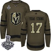 Wholesale Cheap Adidas Golden Knights #17 Vegas Strong Green Salute to Service 2018 Stanley Cup Final Stitched Youth NHL Jersey