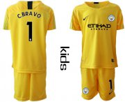 Wholesale Cheap Manchester City #1 C.Bravo Yellow Goalkeeper Kid Soccer Club Jersey