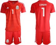 Wholesale Cheap Mexico #1 Corona Red Goalkeeper Soccer Country Jersey