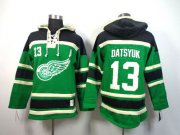Wholesale Cheap Red Wings #13 Pavel Datsyuk Green St. Patrick's Day McNary Lace Hoodie Stitched NHL Jersey