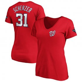 Wholesale Cheap Washington Nationals #31 Max Scherzer Majestic Women\'s 2019 World Series Champions Name & Number V-Neck T-Shirt Red