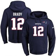 Wholesale Cheap Nike Patriots #12 Tom Brady Navy Blue Name & Number Pullover NFL Hoodie