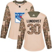 Wholesale Cheap Adidas Rangers #30 Henrik Lundqvist Camo Authentic 2017 Veterans Day Women's Stitched NHL Jersey