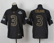 Wholesale Cheap Nike Seahawks #3 Russell Wilson Black Gold No. Fashion Men's Stitched NFL Elite Jersey