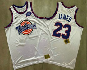 Wholesale Cheap Men\'s The Movie Space Jam #23 LeBron James White Soul AU Basketball Jersey