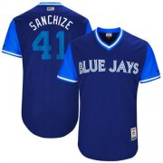 "Wholesale Cheap Blue Jays #41 Aaron Sanchez Navy ""Sanchize"" Players Weekend Authentic Stitched MLB Jersey"