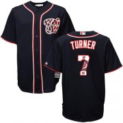 Wholesale Cheap Nationals #7 Trea Turner Navy Blue Team Logo Fashion Stitched MLB Jersey
