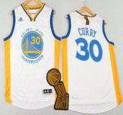 Wholesale Cheap Golden State Warriors #30 Stephen Curry Revolution 30 Swingman 2014 New White Jersey With 2015 Finals Champions Patch