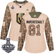 Wholesale Cheap Adidas Golden Knights #81 Jonathan Marchessault Camo Authentic 2017 Veterans Day 2018 Stanley Cup Final Women's Stitched NHL Jersey